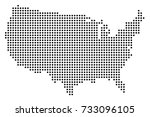 dotted map of usa | Shutterstock .eps vector #733096105