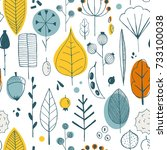 vector simple autumn pattern... | Shutterstock .eps vector #733100038