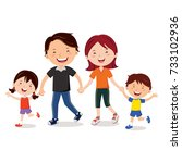 young family walking together... | Shutterstock .eps vector #733102936