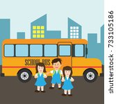 kids with uniform going to... | Shutterstock .eps vector #733105186