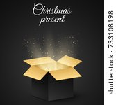 christmas golden box with a... | Shutterstock .eps vector #733108198