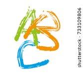 abc alphabet hand writing vector | Shutterstock .eps vector #733109806