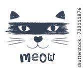 cute cat vector.t shirt print... | Shutterstock .eps vector #733111876