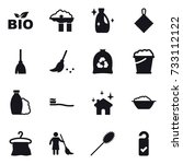 16 vector icon set   bio ... | Shutterstock .eps vector #733112122