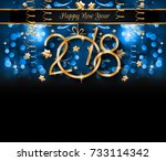 2018 happy new year background... | Shutterstock . vector #733114342