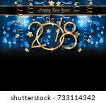 2018 happy new year background... | Shutterstock . vector #733114342