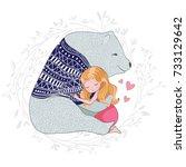 little girl with cute bear.cute ... | Shutterstock .eps vector #733129642