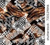 seamless pattern patchwork... | Shutterstock . vector #733129846