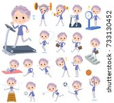 set of various poses of blue... | Shutterstock .eps vector #733130452