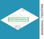 isometric vector approved paper ... | Shutterstock .eps vector #733137046