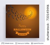 halloween party poster. bats... | Shutterstock .eps vector #733145446