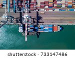 commercial port with container... | Shutterstock . vector #733147486
