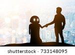 robot assistant technology  ... | Shutterstock . vector #733148095
