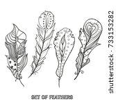 feathers. design zentangle.... | Shutterstock . vector #733153282