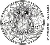 mandala with owl. design... | Shutterstock . vector #733153366