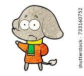 cartoon unsure elephant in scarf | Shutterstock .eps vector #733160752