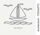 Line Flat Plain Vector Ocean...