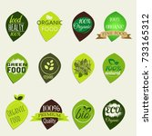 set of icons for vegetarian... | Shutterstock . vector #733165312