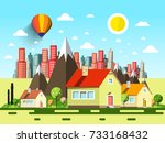 houses and abstract city.... | Shutterstock .eps vector #733168432