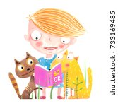 girl cat and dog reading book.... | Shutterstock .eps vector #733169485