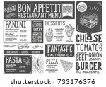 food menu for restaurant and... | Shutterstock .eps vector #733176376