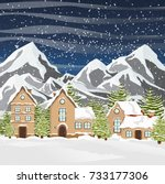 winter vector landscape with a... | Shutterstock .eps vector #733177306