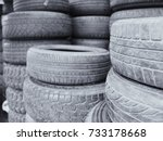 used car tires pile in the tire ... | Shutterstock . vector #733178668
