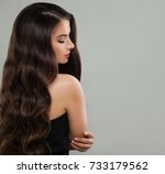 portrait of nice brunette lady... | Shutterstock . vector #733179562