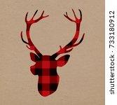lumberjack deer on craft paper | Shutterstock . vector #733180912