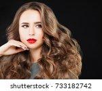 beauty fashion portrait of cute ... | Shutterstock . vector #733182742