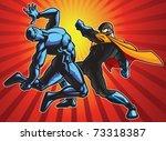 super hero and a ninja doing...