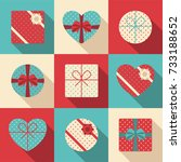 set of different gift boxes... | Shutterstock .eps vector #733188652