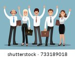 a group of young people in... | Shutterstock .eps vector #733189018