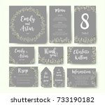 wedding floral invitation... | Shutterstock .eps vector #733190182