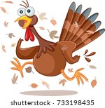 funny turkey running vector... | Shutterstock .eps vector #733198435