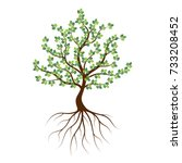 green tree with roots an icon... | Shutterstock .eps vector #733208452