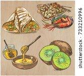 food menu. international...   Shutterstock .eps vector #733210996