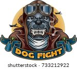 dog with leather flying helmet... | Shutterstock .eps vector #733212922