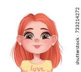 cute girl illustration.... | Shutterstock . vector #733214272
