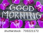 words good morning with orchids ... | Shutterstock . vector #733221172