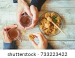 hands men and women with a cup... | Shutterstock . vector #733223422
