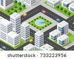 isometric 3d illustration city...   Shutterstock . vector #733223956
