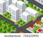 isometric 3d illustration city... | Shutterstock . vector #733223992