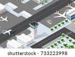 isometric 3d airport | Shutterstock . vector #733223998