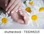 Stock photo beautiful delicate hands with manicure and flowers closeup isolated on white photo of a female 733244215