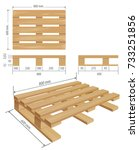 middle wooden pallet in... | Shutterstock .eps vector #733251856