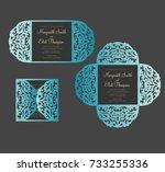petal fold gate card template.... | Shutterstock .eps vector #733255336
