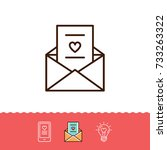 email icon  love sms or... | Shutterstock .eps vector #733263322