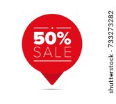 fifty percent sale offer tag | Shutterstock .eps vector #733273282