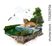 Tiger. 3d Isometric. The File...
